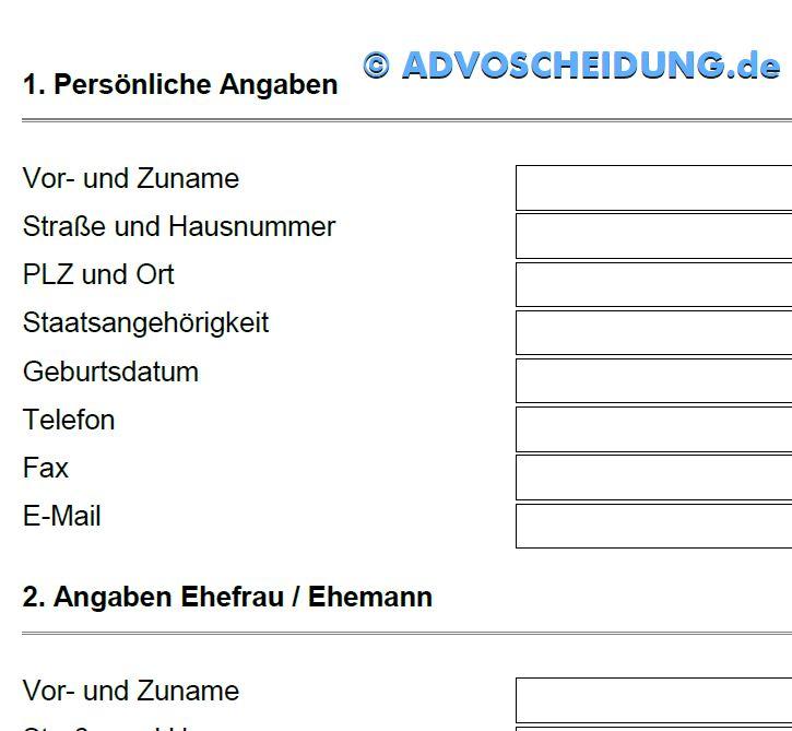 Formular Scheidung PDF ausdrucken